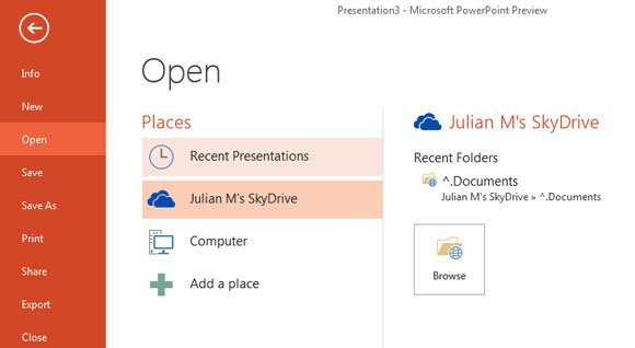 ways to open powerpoint in office 2013 powerpoint