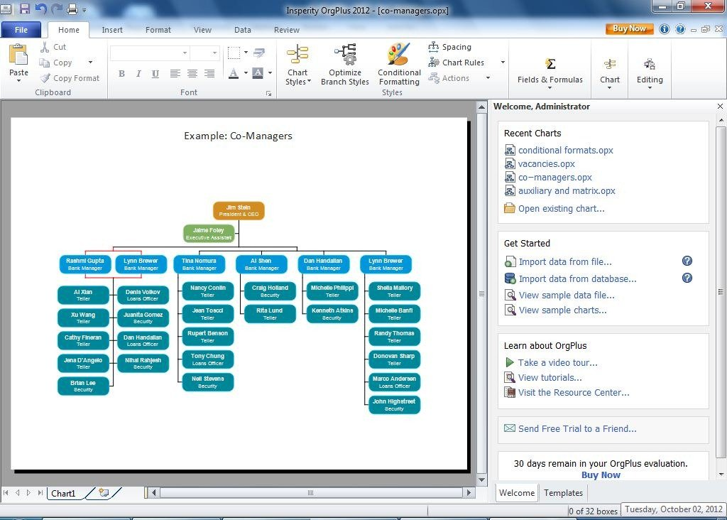 create professional looking organizational charts with