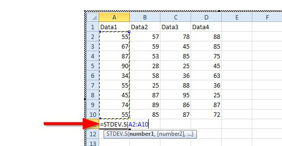 Calculating For Standard Deviation In Powerpoint 2010