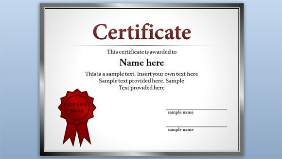 Free certificate template for powerpoint 2010 2013 for Editable certificate template