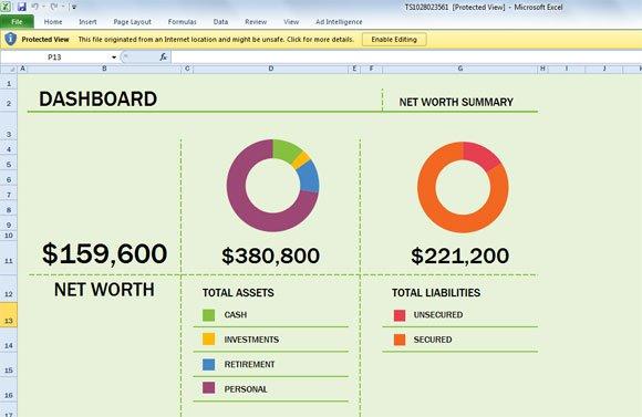 free net worth spreadsheet template for excel 2013. Black Bedroom Furniture Sets. Home Design Ideas