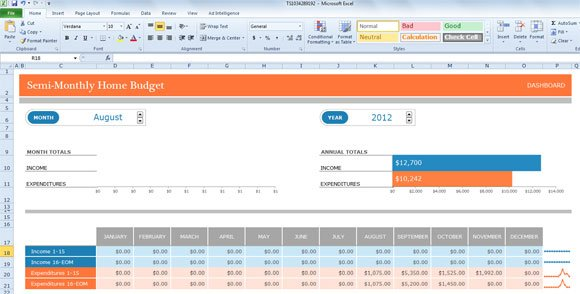 The budget template uses Excel slicers and a Excel timeline that makes ...