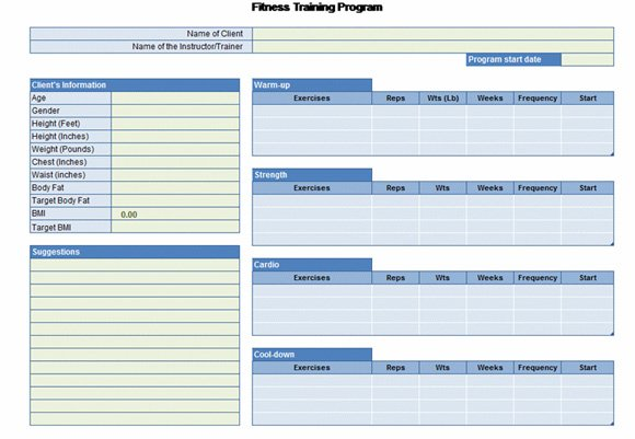 Workout Chart Excel Download Free Workout Chart