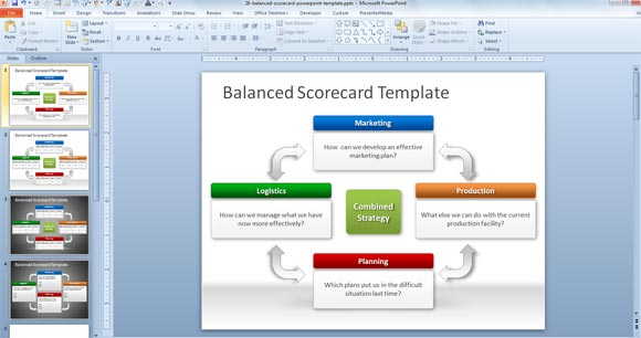 Free balanced scorecard powerpoint template powerpoint for Business card template powerpoint 2010