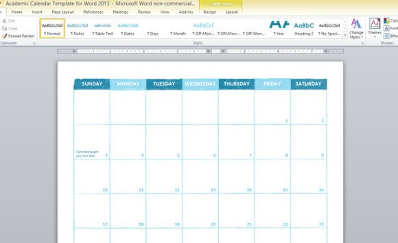 Academic Calendar Template For Word 2013 | PowerPoint Presentation