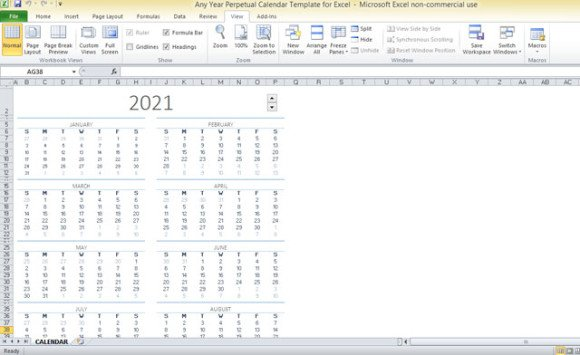 ... free Any Year Perpetual Calendar Template for Excel at Office.com