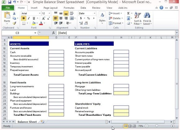 Simple Balance Sheet Template For Excel | PowerPoint Presentation