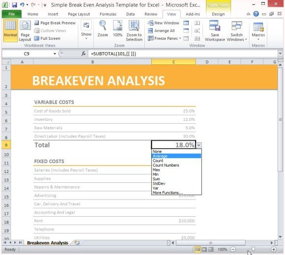 simple breakeven analysis template for excel 2013 powerpoint presentation. Black Bedroom Furniture Sets. Home Design Ideas