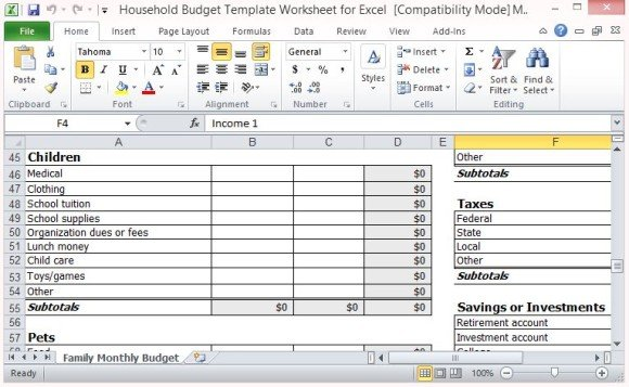 Personal income expense statement template