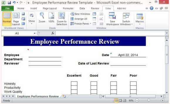 Free performance review template form for word 2007 for Hr performance review template