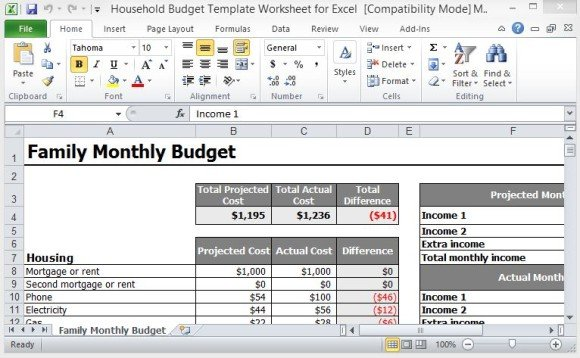 Household Budget Template Worksheet For Excel | PowerPoint ...