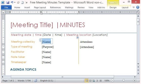 Free meeting minutes template for word powerpoint for Free minutes template for meetings