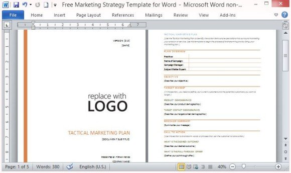 Free Marketing Strategy Template for Word | PowerPoint Presentation