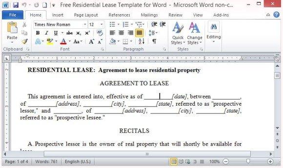 free rental agreement template word .