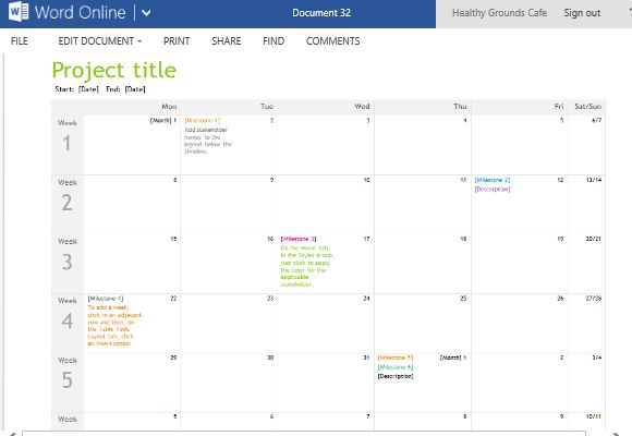 Blank Calendar You Can Type Into : Project planning timeline calendar for word online