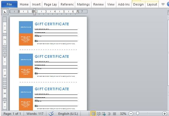 Printable Gift Certificates Template For Word   PowerPoint ...
