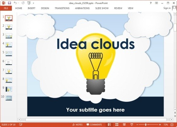 animated idea clouds powerpoint template powerpoint presentation. Black Bedroom Furniture Sets. Home Design Ideas