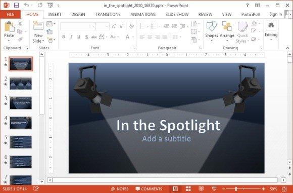 Animated Spotlights Powerpoint Template Powerpoint